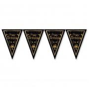 Siyah-Gold İyi Ki Doğdun Baskılı Flama,Doğum Günü Parti Malzemesi