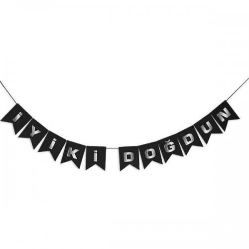 Siyah-Gümüş Gri Yatay İyi Ki Doğdun Yetişkin Doğum Günü Parti
