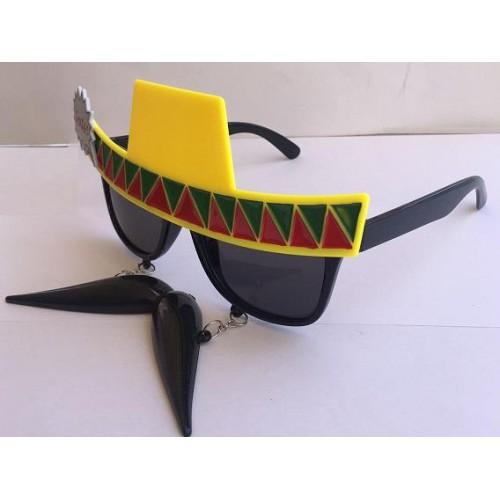 Siyah Sarı Bıyıklı Büyük Gözlük, Çılgın Doğum Günü Parti Gözlüğü