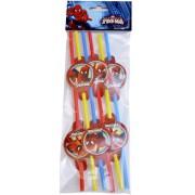 Spiderman 6lı Pipet Doğum Günü Parti Pipeti Ucuz Konsept Kamış
