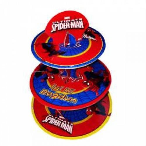 Spiderman Örümcek Adam 3 Katlı Cupcake Kek Stand Doğum Günü Parti