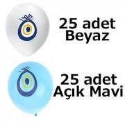 25 Mavi 25 Beyaz Nazar Boncuklu Balon 50 li