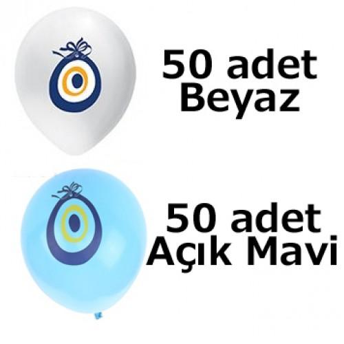50 Mavi 50 Beyaz Nazar Boncuklu Sünnet Balon 100 lü