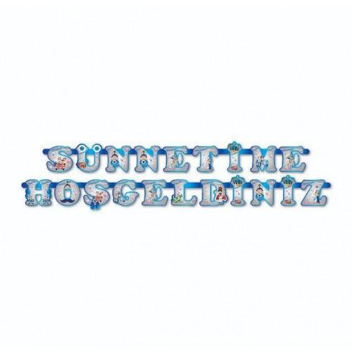 Sünnetime Hoşgeldiniz Yatay Yazı Sünnet Töreni Hazırlık Süslemesi