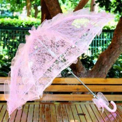 Toz Şeker Pembe Dantelli Gelin Damat Şemsiyesi, Bayan Aksesuarı