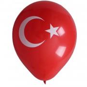 Türk Bayrak Baskılı 16lı Balon Kırmızı Beyaz Bayrağı Ay Yıldız