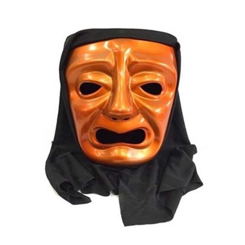 Turuncu Pelerinli Ağlayan Tiyatro Yüz Maskesi Plastik Korku Maske