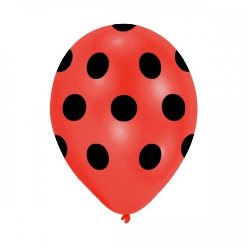 12 Adet Kırmızı Siyah Mucize Uğur Böceği ile Kara Kedi Balon