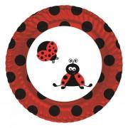 Uğur Böceği 8li Tabak 23cm Doğum Günü Parti Tabağı Ucuz