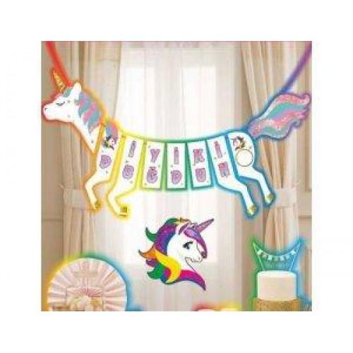 Unicorn At Şeklinde İyi Ki Doğdun Yazısı Tek Boynuzlu At Konsepti