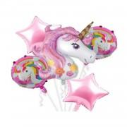 Unicorn Folyo Balon Seti Pembe 5 Li Set