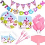 Unicorn Temalı Doğum Günü Balonlu Parti Malzemeleri Set (24 Kişi)