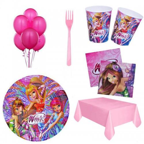 Winks 16 Kişilik 8 Parça Doğum Günü Seti malzemeleri Winx