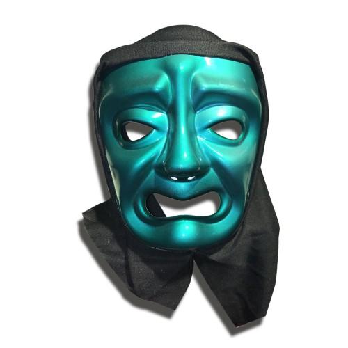 Yeşil Pelerinli Ağlayan Tiyatro Yüz Maskesi Plastik Korku Maske