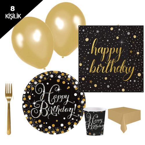 Yetişkin doğum günü,altın parti malzemesi paketi genç 8 kişilik