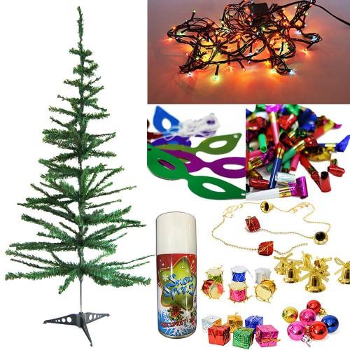 Yılbaşı Çam Ağacı 120 cm + 25 Renkli Süs+ Led ışığı +Kar Spreyi