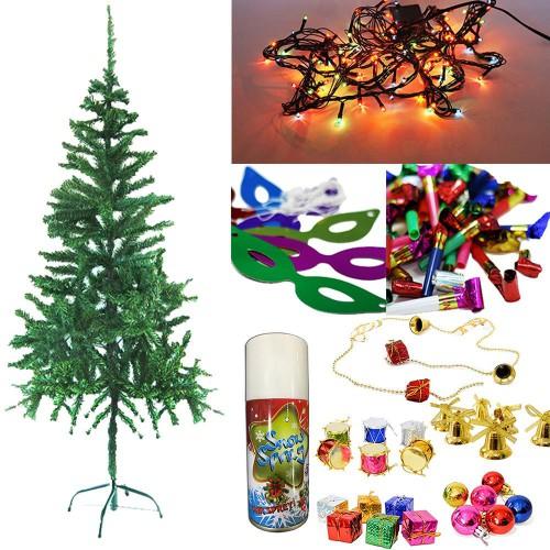 Yılbaşı Çam Ağacı 150 cm + 25 Renkli Süs+ Led ışığı +Kar Spreyi
