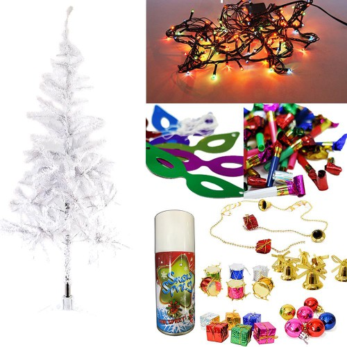 Yılbaşı Çam Ağacı 180 cm + 25 Renkli Süs + Led ışığı + Kar Spreyi